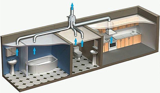 Одного крышного радиального вентилятора часто бывает достаточно, чтобы обеспечить вытяжку со всех помещений