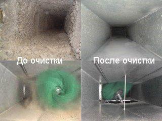 Прочистка вентиляции в многоквартирных домах: вид до и после