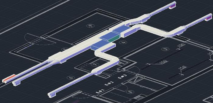 Проектная схема 3D монтаж фанкойлов в квартире