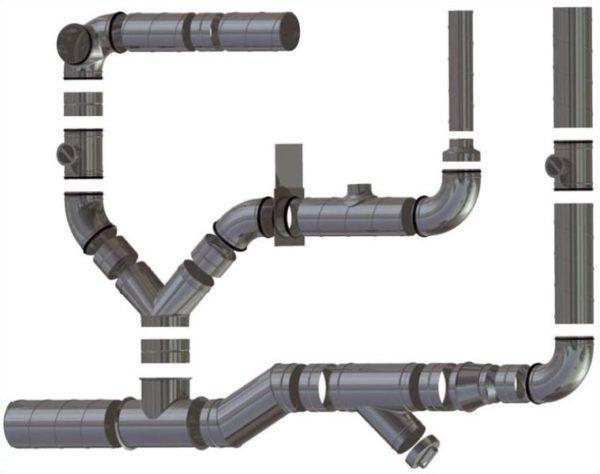 Пример вентиляции из круглых пластиковых вентиляционных труб
