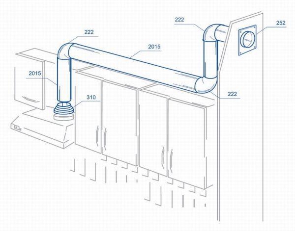 Пример использования пластиковых воздуховодов для подключения кухонной вытяжки