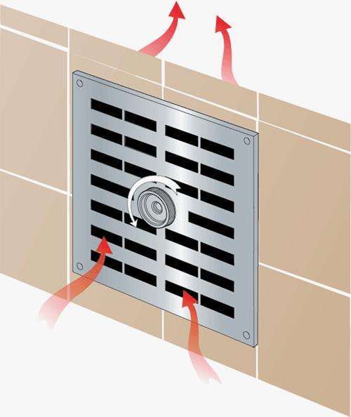 Приточно-вытяжная металлическая вентиляционная регулируемая решетка с заслонкой в открытом положении