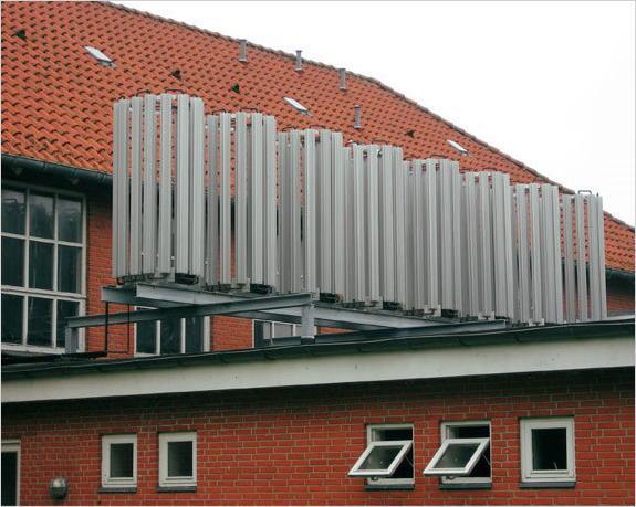 Внешний контур теплового насоса, расположенный на крыше здания