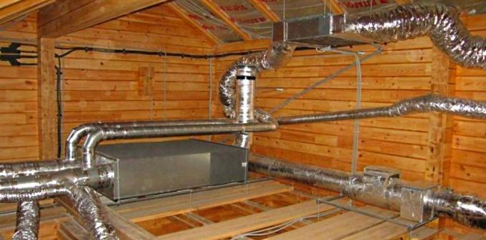 Сложная система вентиляционных каналов в бане