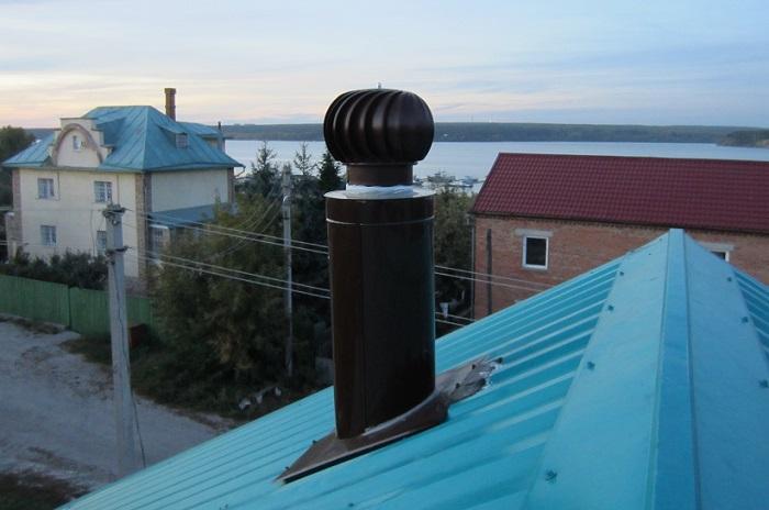 Турбодефлектор на крыше частного дома