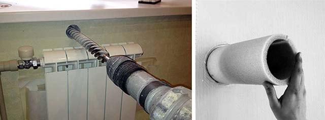 Сверление сквозного отверстия в стене