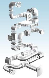 Образцы пластиковых вентиляционных труб и деталей для их соединения