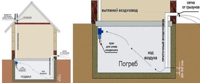 Схема вытяжки в частном доме – расположение вытяжной и приточной труб в подвальном помещении