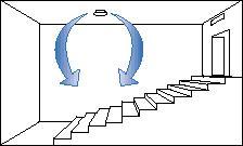 Приточный диффузор размещен во фронтальной части помещения