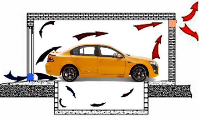 Схема циркуляции воздуха в стоянке-гараже со смотровой ямой