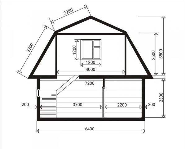 Схема мансардной ломанной крыши с размерами