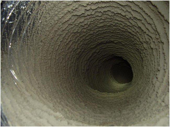 Загрязненный вентиляционный воздуховод