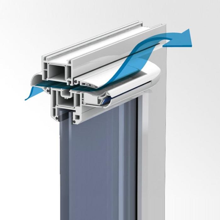 прохождение воздуха через оконный блок с приточным клапаном