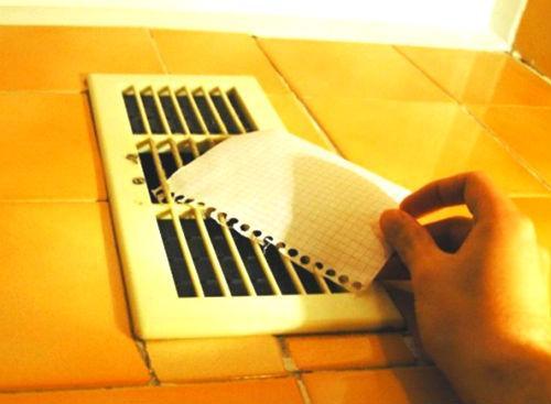 Проверка вентиляции листом