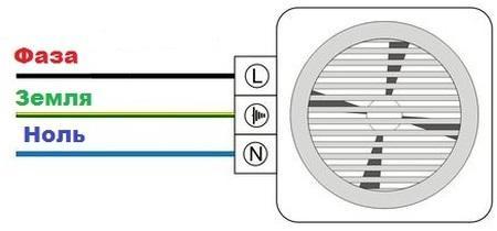 схема подключения в ванной вентилятора с датчиком влажности