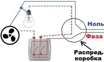 схема подключения вентилятора кухни или туалета