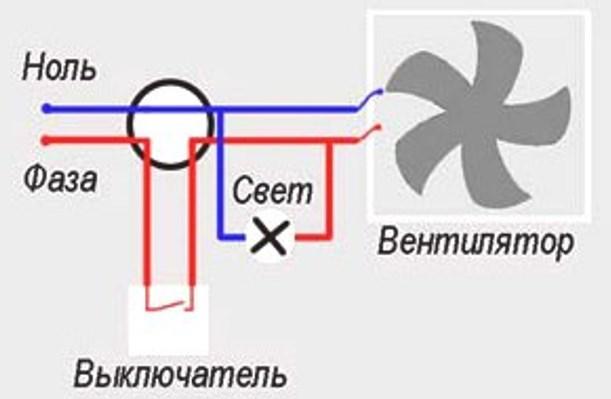 Схема подключения вентилятора в ванной к выключателю