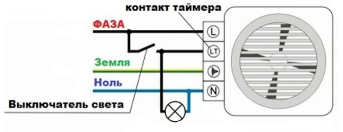 Схема подключения вентилятора с таймером в ванной