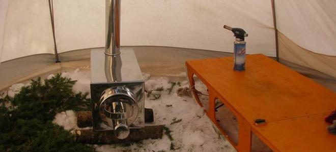 Печь в палатку для зимней рыбалки