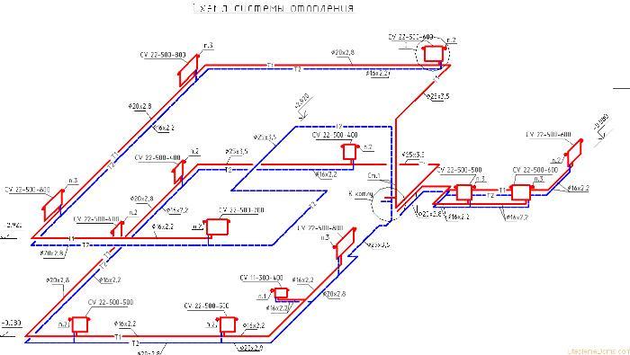 аксонометрической схемы системы отопления