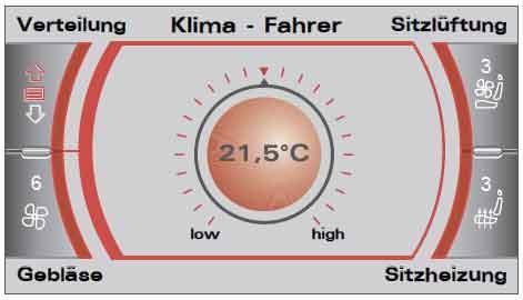 Управление климатической установкой посредством системы MMI