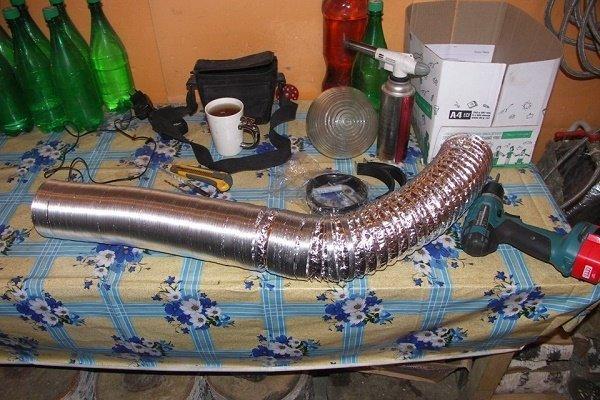 Шаг 4: Подготовка гофры для устройства воздуховодов