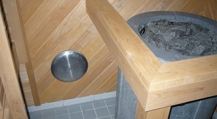 Точка вентканала в помещении с электрокаменкой