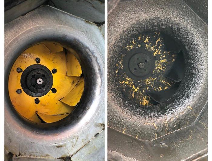 На фото сравнение вентиляционной системы до очистки и после