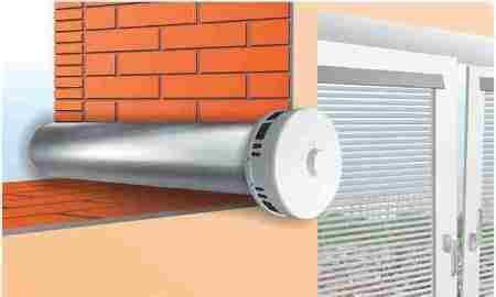 Схема установки приточного клапана в стене