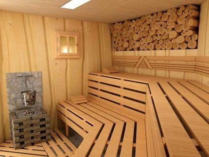 Деревяная отделка бани