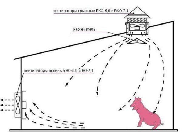 Схема установки вентиляторов