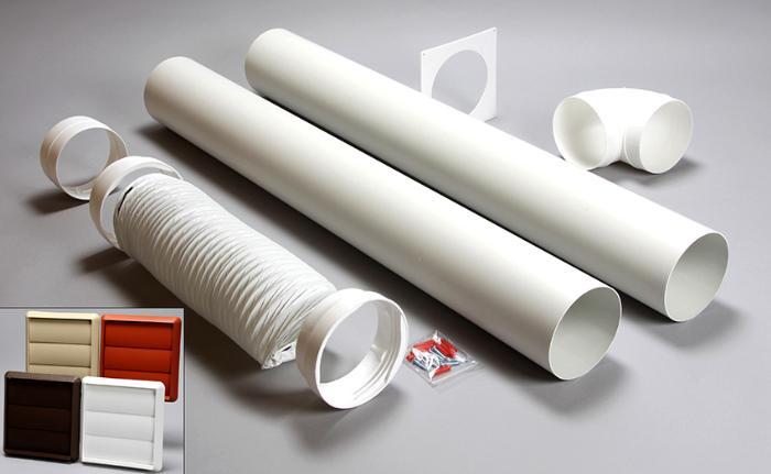 Стандартные размеры сечения круглых коробов: 80, 100, 125 и 150 мм