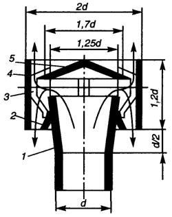 Рис. 4.2. Схема дефлектора типа ЦАГИ: 1 - диффузор; 2 - конус; 3 - лапки, удерживающие колпак и обечайку; 4 - обечайка; 5 - колпак
