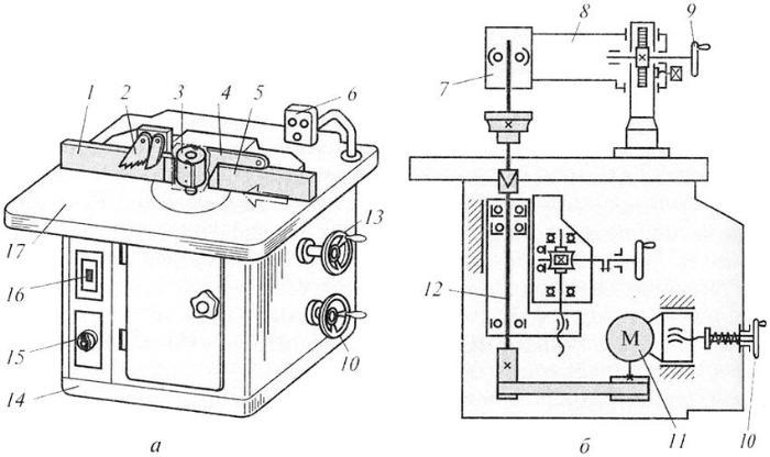 Схема устройства фрезерного станка (а - общий вид, б - кинематическая схема): 1 , 5 - направляющие линейки; 2 - зубчатый сектор; 3 - фреза; 4 - ограждение; 6 - пульт управления; 7 - дополнительная опора шпинделя; 8 - кронштейн; 9 - маховичок подъема кронштейна; 10 - маховичок натяжения ремня; 11 - электродвигатель; 12 - шпиндель; 13 - маховичок настройки шпинделя по высоте; 14 - станина; 15 - переключатель частоты вращения шпинделя; 16 - выключатель; 17 - стол