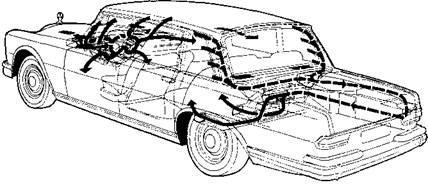 Схема системы вентиляции и отопления автомобиля Mercedes-Benz 600