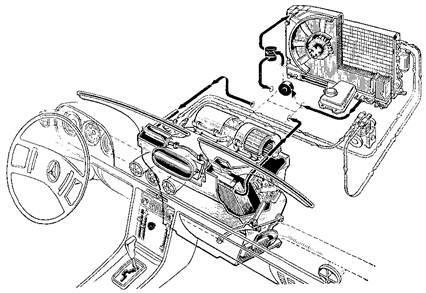 Схема кондиционера фирмы Behr в автомобиле Mercedes-Benz 350S