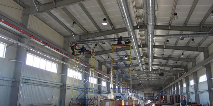 монтаж системы вентиляции на производстве