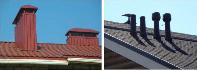 Вентиляционные трубы на крыше могут размещаться по отдельности или быть собраны блоками, но высота их для общего этажа должна быть одинаковой