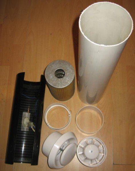 Из этого набора создается комбинированная вентиляция для перепелов своими руками