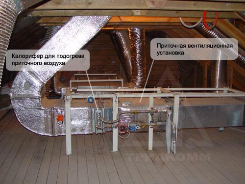 Один из примеров реализации оборудования приточной вентиляции на чердаке дома