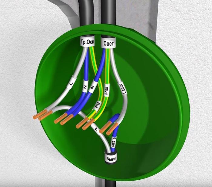 подключение проводов в распаечной коробке на ванную комнату