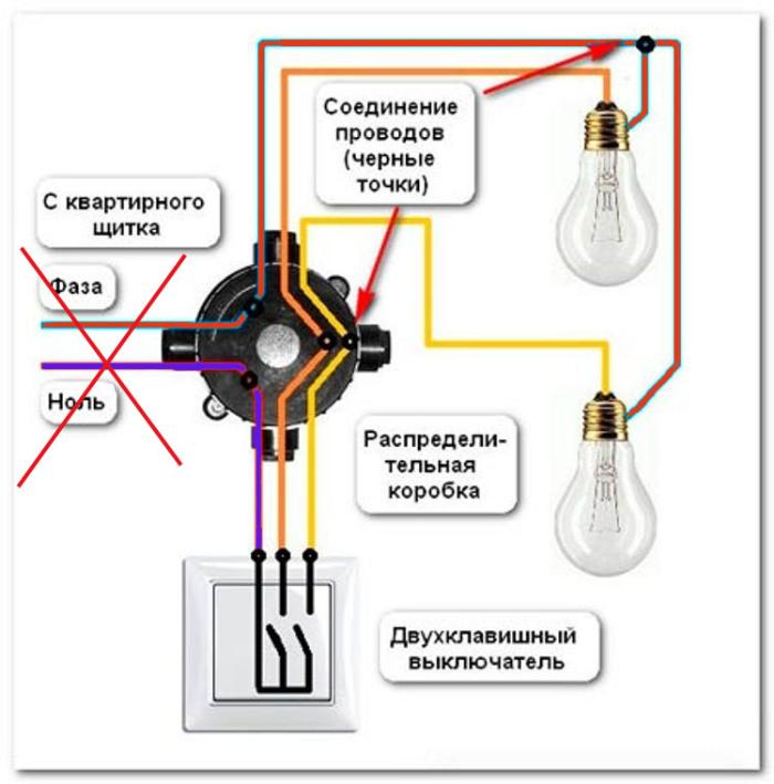 неправильное подключение фазного провода к выключателю ошибка