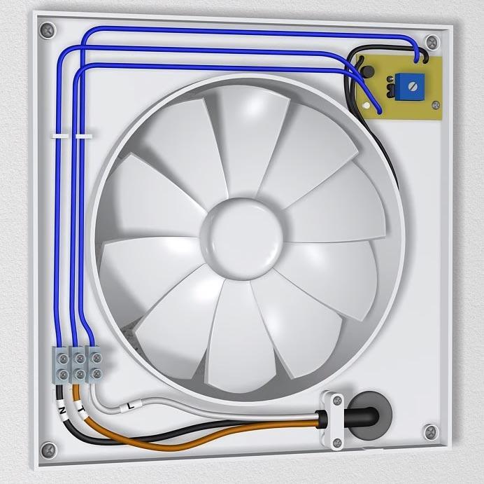 схема подключения проводов на клеммах вентилятора вытяжки в ванной