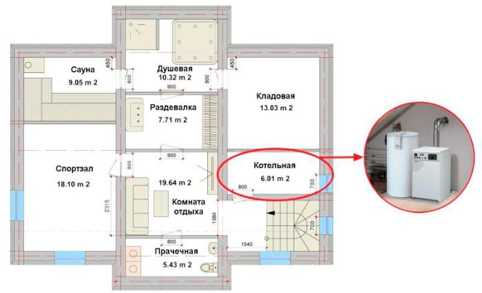 3-D проект газовой котельной в жилом доме