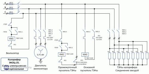 Калорифер-электрическая схема подключения