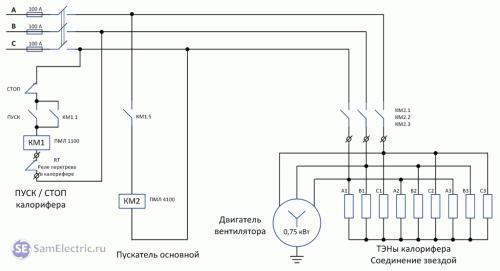 Схема подключения калорифера для вентиляции. Как нельзя подключать калорифер