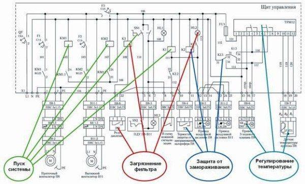 Пример электрической схемы системы.