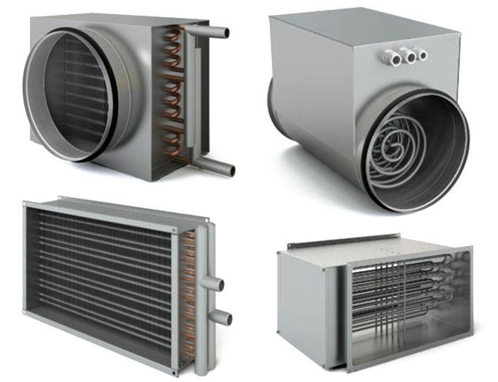 Различные водяные и электрические нагреватели для систем вентиляции