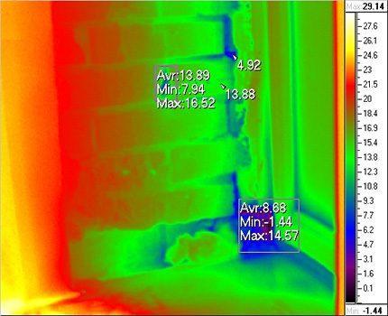 Съемка тепловизором для определения просачивания воздуха