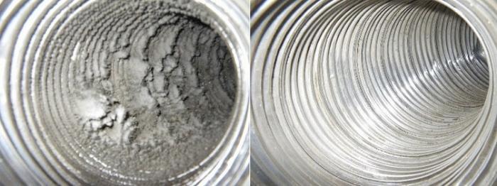 Воздуховод до и после чистки